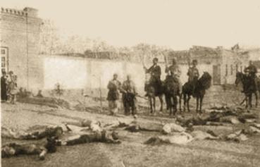 Hamidiyes masacrando gente desarmada a orillas del río Tigris.