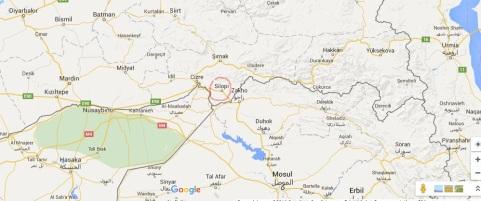 Ubicación de Silopi, en la triple frontera entre Turquia, Siria e Iraq.